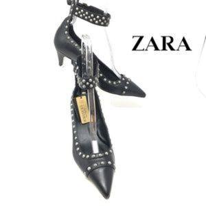 NWT Zara black leather studded heels size 6